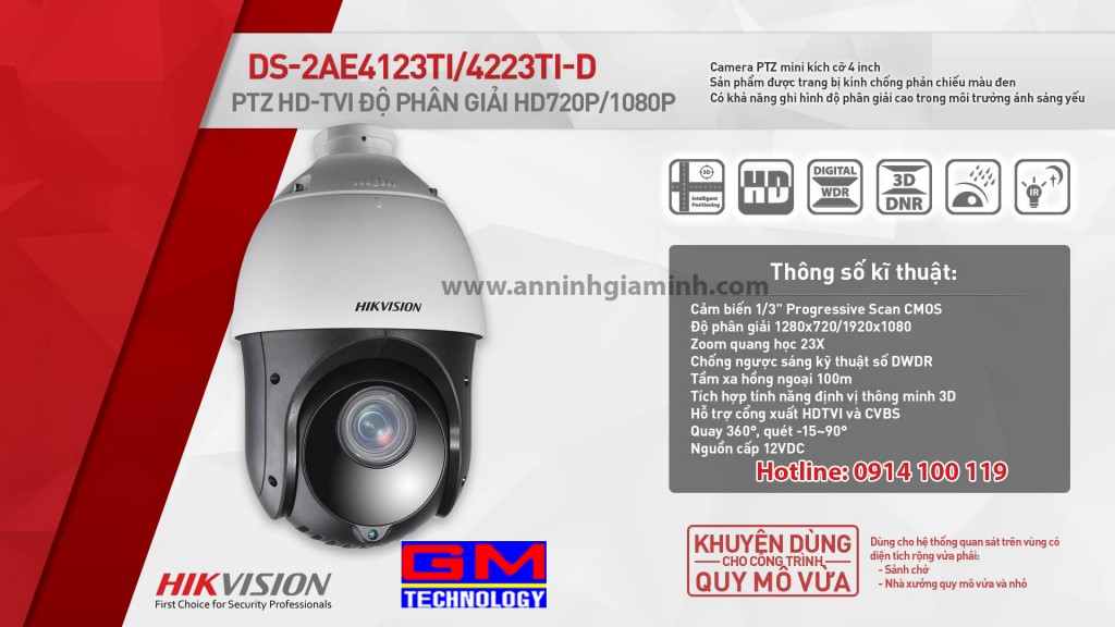 Camera Speed Dome DS-2AE4123TI/4223TI-D