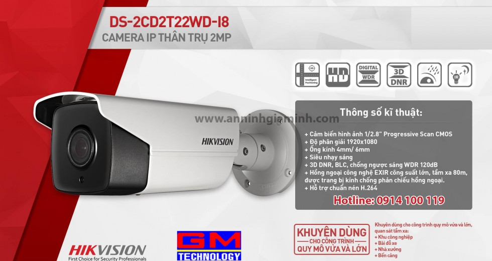 Camera IP DS-2CD2T22WD-I8